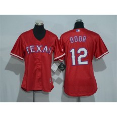 MLB Texas Rangers 12 Rougned Odor Red Alternate Stitched Baseball Women Jersey