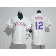 MLB Texas Rangers 12 Rougned Odor White Home Stitched Women Jersey