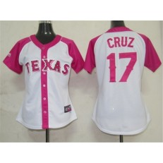 MLB Texas Rangers 17 Nelson Cruz 2012 Fashion by Majestic Athletic Women Jersey
