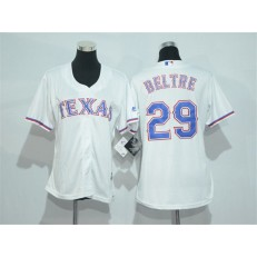 MLB Texas Rangers 29 Adrian Beltre White Home Stitched Women Jersey