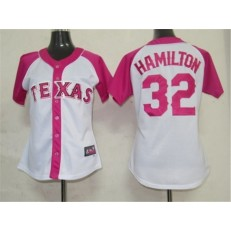 MLB Texas Rangers 32 Josh Hamilton 2012 Fashion by Majestic Athletic Women Jersey