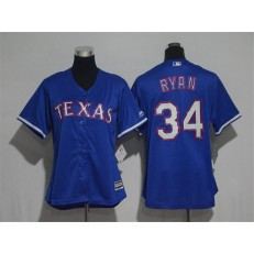 MLB Texas Rangers 34 Nolan Ryan Blue Alternate Stitched Women Jersey