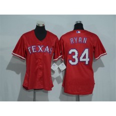 MLB Texas Rangers 34 Nolan Ryan Red Alternate Stitched Baseball Women Jersey