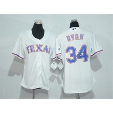 MLB Texas Rangers 34 Nolan Ryan White Home Stitched Women Jersey