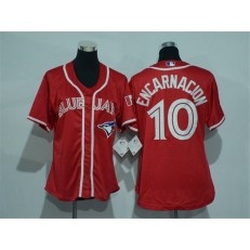 MLB Toronto Blue Jays 10 Edwin Encarnacion Red Canada Day Stitched Baseball Women Jersey