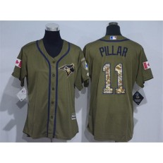 MLB Toronto Blue Jays 11 Kevin Pillar Green Salute to Service Majestic Baseball Women Jersey