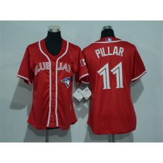 MLB Toronto Blue Jays 11 Kevin Pillar Red Canada Day Stitched Baseball Women Jersey