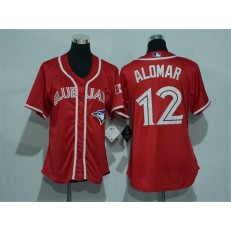 MLB Toronto Blue Jays 12 Roberto Alomar Red Canada Day Stitched Baseball Women Jersey