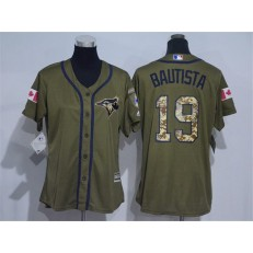 MLB Toronto Blue Jays 19 Jose Bautista Green Salute to Service Majestic Baseball Women Jersey