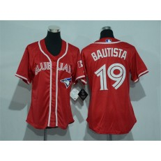 MLB Toronto Blue Jays 19 Jose Bautista Red Canada Day Stitched Baseball Women Jersey