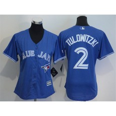 MLB Toronto Blue Jays 2 Troy Tulowitzki Blue Alternate Stitched Baseball Women Jersey