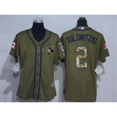 MLB Toronto Blue Jays 2 Troy Tulowitzki Green Salute to Service Majestic Baseball Women Jersey