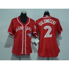 MLB Toronto Blue Jays 2 Troy Tulowitzki Red Canada Day Stitched Baseball Women Jersey