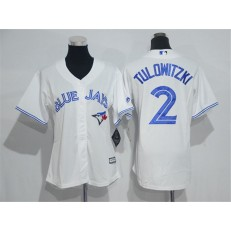 MLB Toronto Blue Jays 2 Troy Tulowitzki White Home Cool Base Baseball Women Jersey