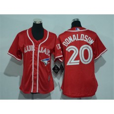 MLB Toronto Blue Jays 20 Josh Donaldson Red Canada Day Stitched Baseball Women Jersey