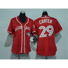MLB Toronto Blue Jays 29 Joe Carter Red Canada Day Stitched Baseball Women Jersey