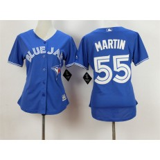 MLB Toronto Blue Jays 55 Russell Martin Alternate Blue 2015 Cool Base Women Jersey