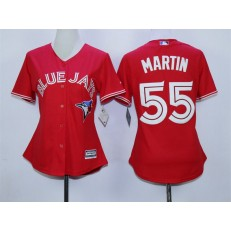 MLB Toronto Blue Jays 55 Russell Martin Red Cool Base Baseball Women Jersey