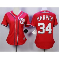 MLB Washington Nationals 34 Bryce Harper Alternate Red 2015 Cool Base Women Jersey