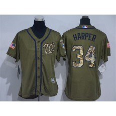 MLB Washington Nationals 34 Bryce Harper Green Salute to Service Majestic Baseball Women Jersey