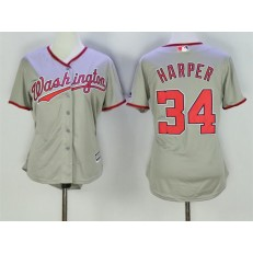 MLB Washington Nationals 34 Bryce Harper Grey Road Stitched Women Jersey