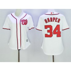 MLB Washington Nationals 34 Bryce Harper Home White 2015 Cool Base Women Jersey