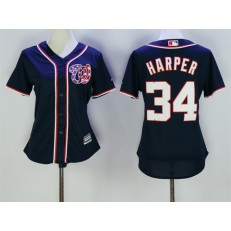 MLB Washington Nationals 34 Bryce Harper Navy Blue Majestic Women Jersey