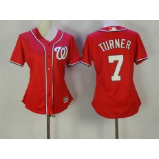 MLB Washington Nationals 7 Trea Turner Alternate Red 2015 Cool Base Women Jersey
