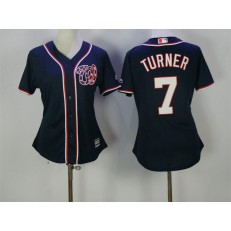 MLB Washington Nationals 7 Trea Turner Navy Blue Majestic Women Jersey