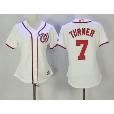 MLB Washington Nationals 7 Trea Turner White New Cool Base Women Jersey