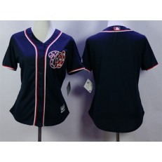 MLB Washington Nationals Blank Navy Blue Majestic Women Jersey