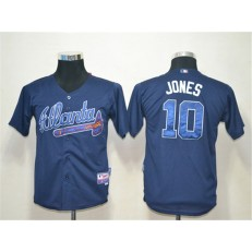 MLB Atlanta Braves 10 Chipper Jones Blue Cool Base Youth Jersey