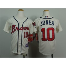 MLB Atlanta Braves 10 Chipper Jones Cream Youth Jersey