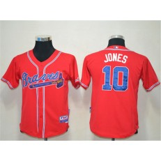 MLB Atlanta Braves 10 Chipper Jones Red Cool Base Youth Jersey