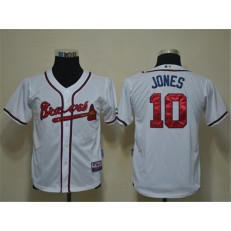 MLB Atlanta Braves 10 Chipper Jones White Cool Base Youth Jersey