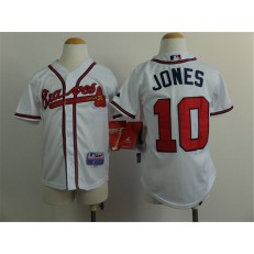 MLB Atlanta Braves 10 Chipper Jones White Youth Jersey