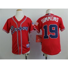 MLB Atlanta Braves 19 Andrelton Simmons 2014 Red Youth Jersey