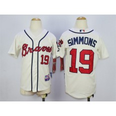 MLB Atlanta Braves 19 Andrelton Simmons Cream Youth Jersey