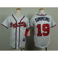MLB Atlanta Braves 19 Andrelton Simmons White Youth Jersey