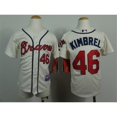 MLB Atlanta Braves 46 Craig Kimbrel Cream Youth Jersey
