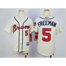 MLB Atlanta Braves 5 Freddie Freeman Cream Youth Jersey