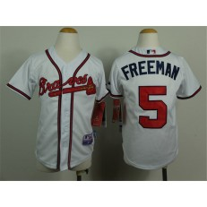 MLB Atlanta Braves 5 Freddie Freeman White Youth Jersey