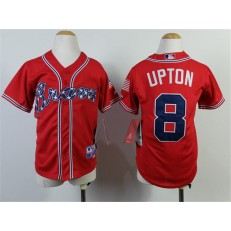 MLB Atlanta Braves 8 Justin Upton 2014 Red Youth Jersey
