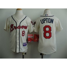 MLB Atlanta Braves 8 Justin Upton Cream Youth Jersey