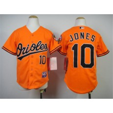 MLB Baltimore Orioles 10 Adam Jones Orange Cool Base Stitched Baseball Youth Jersey