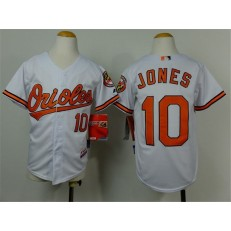 MLB Baltimore Orioles 10 Adam Jones White Cool Base Stitched Baseball Youth Jersey