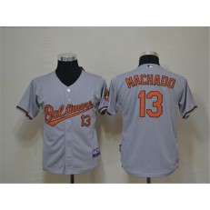 MLB Baltimore Orioles 13 Manny Machado Grey Cool Base Youth Jersey