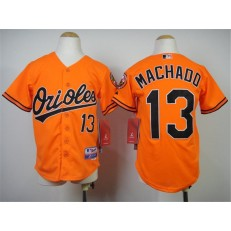 MLB Baltimore Orioles 13 Manny Machado Orange Cool Base Stitched Baseball Youth Jersey