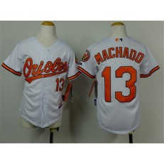 MLB Baltimore Orioles 13 Manny Machado White Cool Base Stitched Baseball Youth Jersey