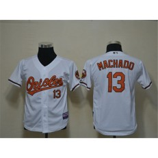 MLB Baltimore Orioles 13 Manny Machado White Cool Base Youth Jersey